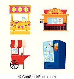 ensemble, vente, stock., signe., objet, isolé, vecteur, cabine, icône