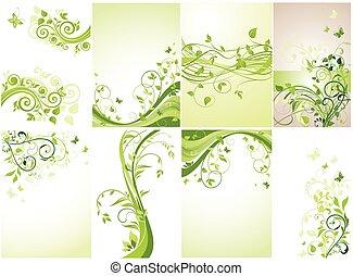 ensemble, vert, banners., floral