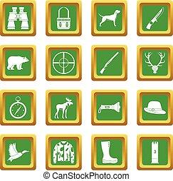 ensemble, vert, chasse, icônes