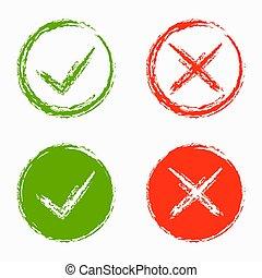 ensemble, vert, croix, rouges