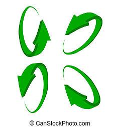 ensemble, vert, flèche, 3d