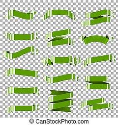 ensemble, vert, isolé, ruban