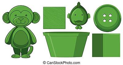 ensemble, vert, jouets
