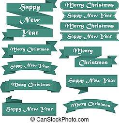 ensemble, vert, joyeux, année, nouveau, rubans, noël, heureux