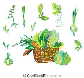 ensemble, vert, Légumes, main, panier, dessiné