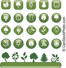 ensemble, vert, nature, icônes