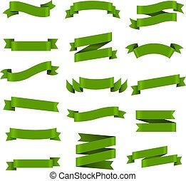 ensemble, vert, ruban