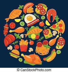 ensemble, viande, plats, icônes, nourriture, fish, vecteur