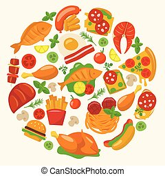 ensemble, viande, plats, icônes, nourriture, grand poisson, vecteur