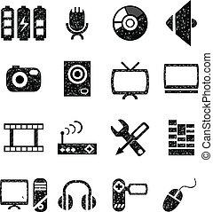 ensemble, vidéo, icône, audio