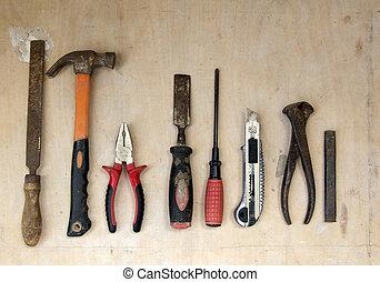 ensemble, vieux, équipement, grain bois, groupe, outils