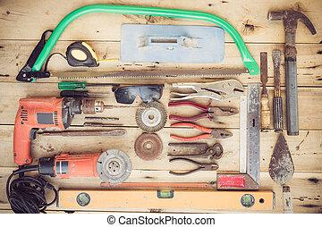 ensemble, vieux, équipement ménage, grain bois, groupe