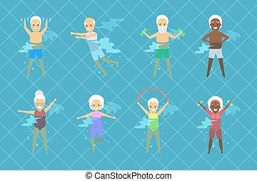 ensemble, vieux gens, piscine, exercice, natation