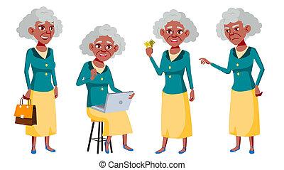 ensemble, vieux, person., personnes agées, grandparent., afro, design., bannière, aviateur, isolé, aged., amical, femme, vector., american., illustration, brochure, poses, dessin animé, gens., personne agee, black.