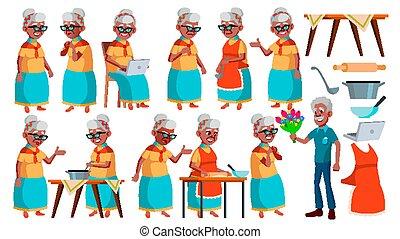 ensemble, vieux, person., personnes agées, grandparent., afro, design., isolé, impression, présentation, vector., femme, aged., american., illustration, actif, poses, dessin animé, gens., joy., invitation, personne agee, black.