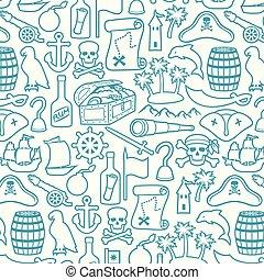 ensemble, vieux, pirates, canon, longue-vue, gouvernail, ancre, montagne, (sabre, crochet, palms), icônes, trésor, os, poitrine, chapeau, ligne, baril, rhum, île crâne, carte, bateau, mince, foulard