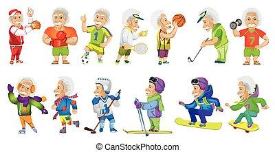 ensemble, vieux, sports, vecteur, illustrations., homme