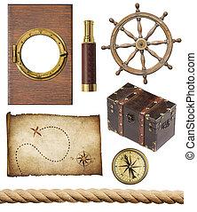 ensemble, vieux, trea, fenêtre, objets, nautique, hublot,...