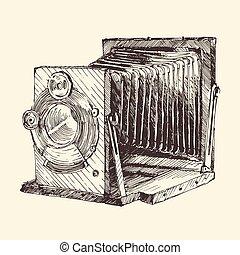 ensemble, vieux, vendange, main, appareil photo, dessiné, retro