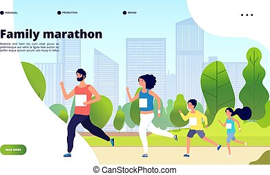 ensemble, ville, famille, papa, jogging, formation, maman, style de vie, été, sain, enfants, park., marathon., concept, gosses, vecteur, courant