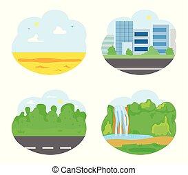 ensemble, ville, nature, chute eau, désert, route