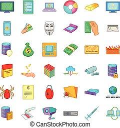 ensemble, virus, icônes, style, dessin animé