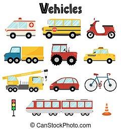 ensemble, voiture, autobus, grue, transport, ville, ambulance, tracteur