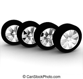 ensemble, voiture, isolé, fond, roues, blanc, 3d