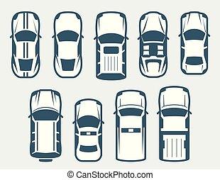 ensemble, voitures, sommet, -, vecteur, vue
