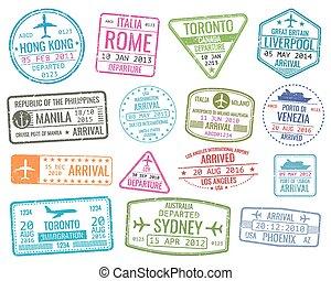 ensemble, voyage commercial, arrivées, signe, timbres, vecteur, international, visa