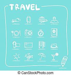 ensemble, voyage, icône