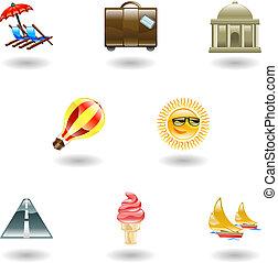 ensemble, voyage, icône, tourisme