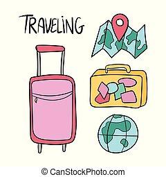 ensemble, voyage, main, vecteur, dessiné, doodles