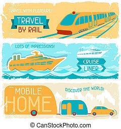 ensemble, voyage, style., retro, bannières horizontales
