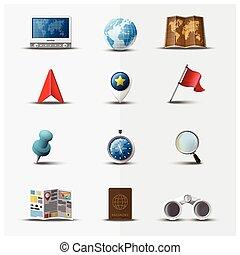 ensemble, voyage, voyage, conception, navigateur, icône