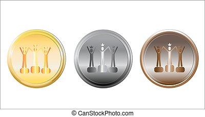 ensemble, white., médailles