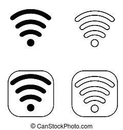 ensemble, wi-fi, noir, icône