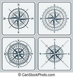 ensemble, (windroses), illustration., roses, vecteur, compas
