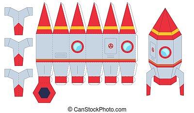 ensemble, worksheet, jeu, puzzle, créer, couper papier, fait main, fusée, gosses, colle, vous-même, vaisseau spatial, toy., jouets, missile., vecteur