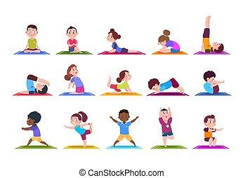 ensemble, yoga, garçons, sport, yoga., filles, isolé, dessin animé, gym., vecteur, caractères, enfants, kids.