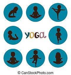 ensemble, yoga, icônes, silhouettes, vecteur, poses