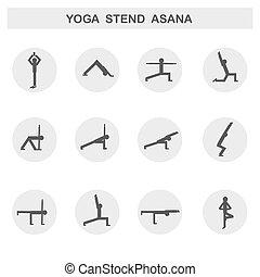 ensemble, yoga, icons., vecteur, asanas., poses