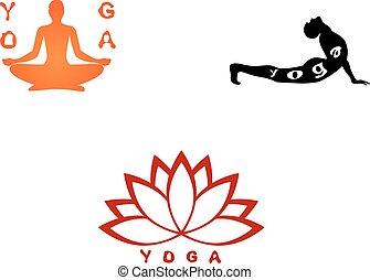 ensemble, yoga, trois