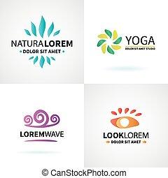 ensemble, yoga, wellness, naturel, vecteur, masage, logo, spa, méditation, éléments
