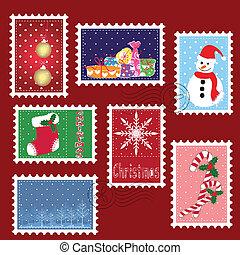 ensembles, de, hiver, noël, timbre, affranchissement