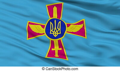 Ensign Of Ukrainian Air Force Flag Closeup Seamless Loop - ...