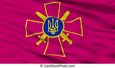 Ensign Of Ukrainian Ground Forces Flag Closeup Seamless Loop...