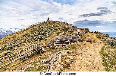 Ensign Peak near downtown Salt Lake City in Utah