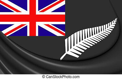 ensign), varen, vlag, zealand., nieuw, (black, zilver