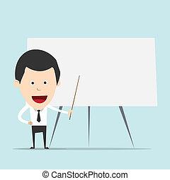 ensinando, caricatura, homem negócio